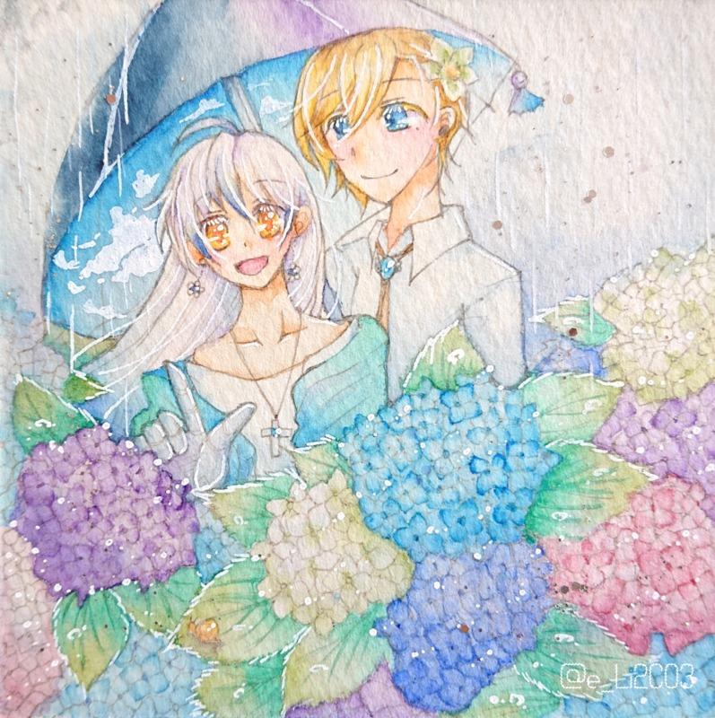 紫陽花と空の傘